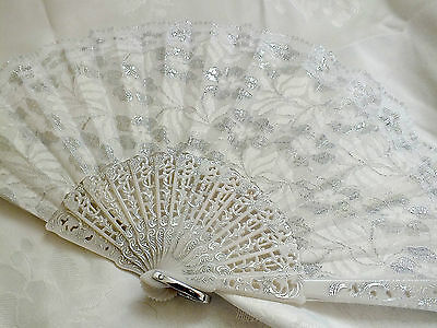 White Silver Lace Spanish Hand Fan Dance Fancy Flamenco Wedding Birthday Party