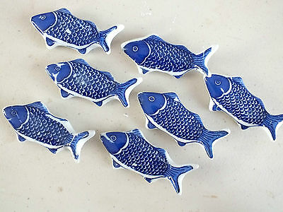 10 Blue Koi Carp Ceramic Chopsticks Stand Rest Chinese Japanese Dinner Party A8