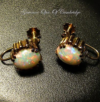 Pretty 9ct Gold Opal and Diamond Screw Back Earrings 3.9g