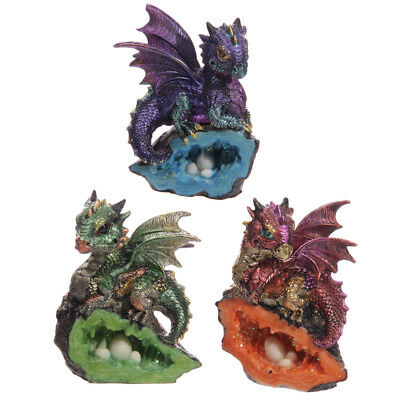 NEW Dragon With Crystal Cave Fantasy Ornament 12 cm High Figurine