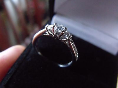 18CT White Gold Trilogy 0.33CT Diamond Engagement Ring New!