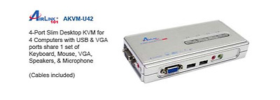 Airlink101 AKVM-U42 4-Port USB KVM Switch w/ Audio