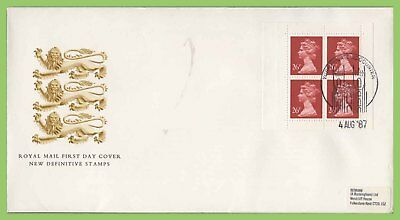 G.B. 1987 26p x 4 booklet pane on Royal Mail First Day Cover, York
