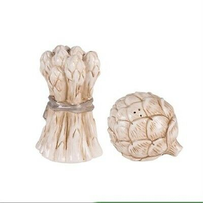 Fitz & Floyd Salt & Pepper Shaker Set Asparagus Artichoke Carrington Collection