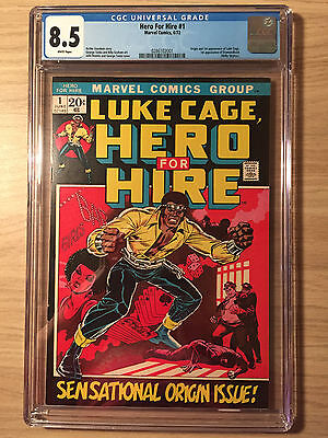 Hero for Hire #1 CGC 8.5 VF+ First Luke Cage, First Print, White Pages