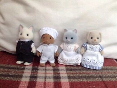 Sylvanian Families Grand Hotel Figures Butler Chef And 2 Maids Rare & Vintage