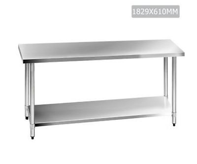 New 304 Stainless Steel Kitchen Work Bench Table 1829Mm Storage Portable Shelf