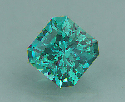 Sapphire. Blue/Green Color. Lab Grown Square Portuguese Cut.11mm. 9.15cts