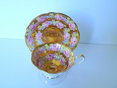 Queen Anne Golden Pink Rose Bone China Cup & Saucer Set