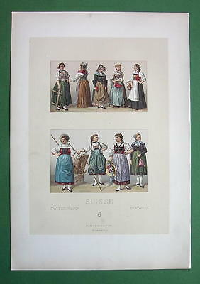 COSTUME of Switzerland Women & Girls - COLOR Litho Antique Print A. Racinet
