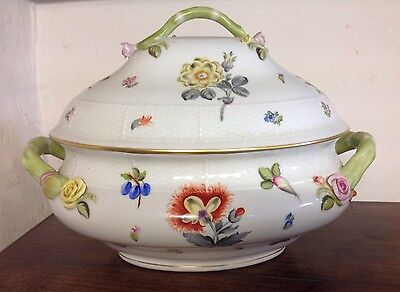 Large Herend Porcelain Tureen Fruits N Flowers Frn/2 Rrp£995 Mint
