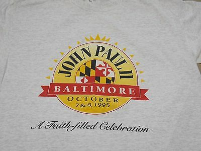 Vtg Saint Pope John Paul II 1990's Baltimore USA Tourist XL Made in USA