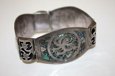 Los Ballesteros Sterling Silver Abalone Inlaid Panel Bracelet Early Mark