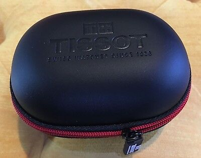 Black & Red travel case, faux leather, genuine Tissot