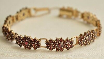 Antique German Gold Plated SILVER 900 Bohemian GARNET Signed Bracelet Stunning