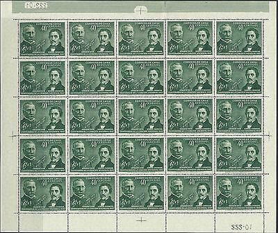 Chile - #249 - Centenary Of National Anthem Full Sheet (1947) Mnh