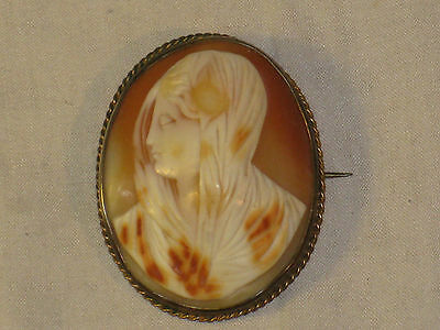 Large Victorian Virgin Mary Carved Shell Cameo Brooch Antique