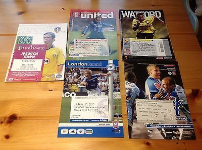 5x Ipswich Town Away Programmes with Match-day Tickets, Leeds Watford Wednesday