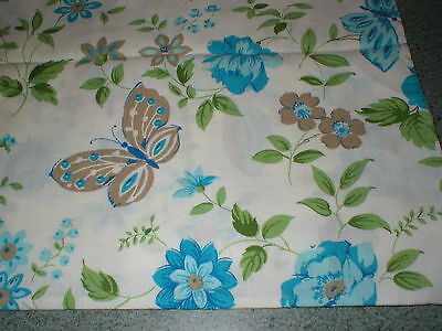 Pair Vintage Mid Century Cannon Monticello No Iron Muslin Pillowcases Blue Roses