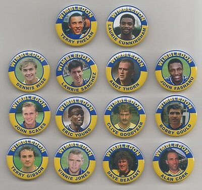 WIMBLEDON FA  CUP WINNERS  1988  BADGES  X 14  38mm  IN SIZE.