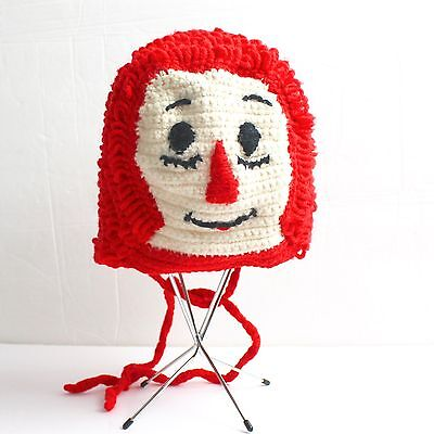 VTG Raggedy Ann Andy Handmade Hat Cap Crocheted Red Winter Boys Girls Childrens