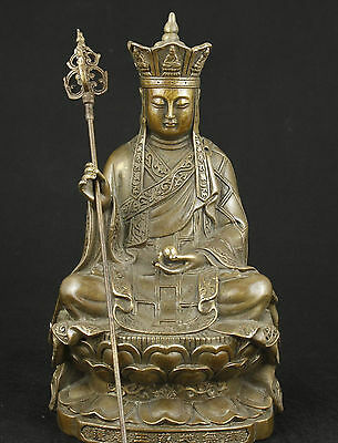 Chinese Old Bronze Collectable Handwork Carved Buddha Statue With Truncheon
