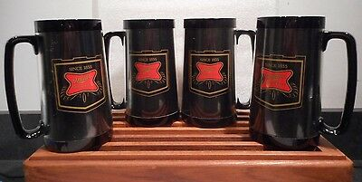 "FOUR<>West Bend  Thermo-Serv Plastic Miller ""High Life"" Mugs<>70's"