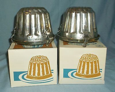2 Vintage Williams Sonoma Bundt Pudding Molds w/ Lids In Boxes Recipe Portugal
