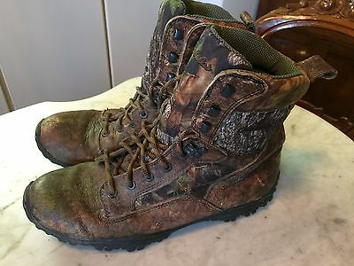 CABELAS hunting fishing camouflage leather canvas mens boots  11.5 gay interest