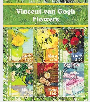 Liberia - Vincent van Gogh's Flowers 2015 - 1531 Sheetlet of 6 MNH