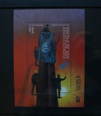 MICRONESIA 1995 United Nations Flag. SOUVENIR SHEET. Mint Never Hinged. SGMS434.