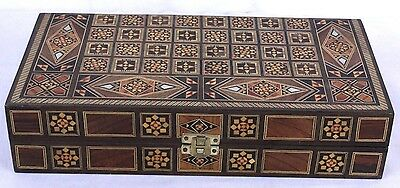Inlaid Wood Mother of Pearl Backgammon Chess Set Folding Travel Middle Eastern