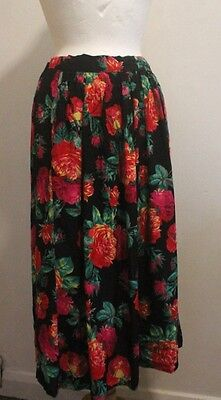 Vintage 1940s 40s Style Rose Print Skirt Size 14-16uk Black Red Blitz WWII