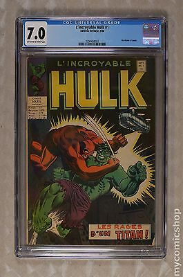 Incredible Hulk (L'Incroyable Hulk 1968) French Series #1 CGC 7.0 0294458003