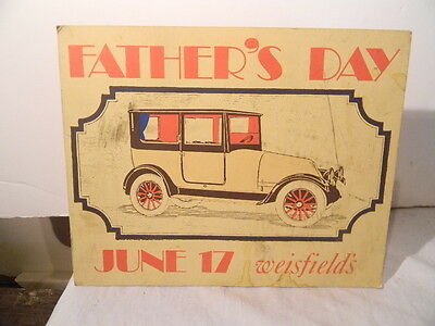 Father's Day 1923 Franklin Auto Counter Top Display Sign Weisfield's Jeweelers
