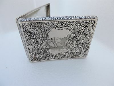 Ultra Fine Antique Persian Armenian Russian Qajar Solid Silver Cigarette Case