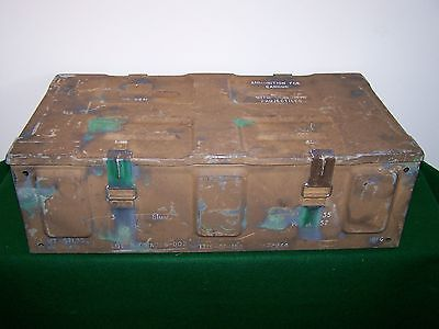 VINTAGE Military 81MM M889 Cannon AMMUNITION Projectiles METAL Box CAN Hinged!