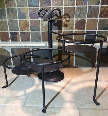 LONGABERGER Wrought Iron 3-Tier Swivel Pottery Candle Display Serving Stand EUC