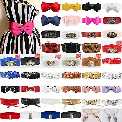 Womens Chic Stretch Buckle Waist Belts Bow Wide Leather Elastic Corset Waistband