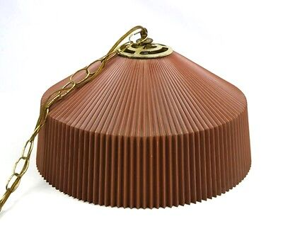 Vtg Mid Century Modern Brown Plastic Hanging Light Fixture Lamp Swag Pendant