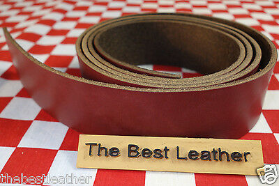 "HORWEEN CHROMEXCEL DARK RED LEATHER 8.5 OZ. 46""x1.25"" FOR BELT & STRAP 1ST. QLTY"