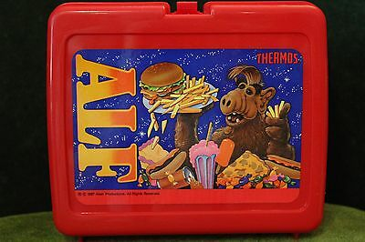 Vintage 1987 Thermos Brand ALF Red Plastic Lunchbox w/ Handle LUNCH PAIL