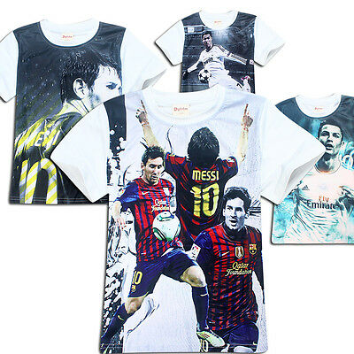 Summer Short Sleeve Kids Girls Boys Spain Soccer Football Cartoon Top T-Shirts