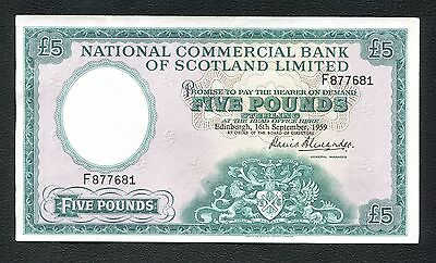 National Commercial Bank of Scotland £5, 16th Sept.1959, serial # F877681, A/UNC