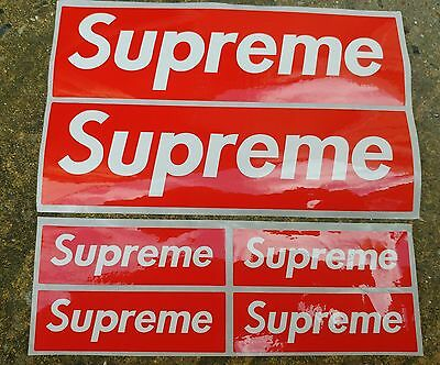6 X Supreme Red Mixed Size Block Sticker (Large X 2 + Small X 4)