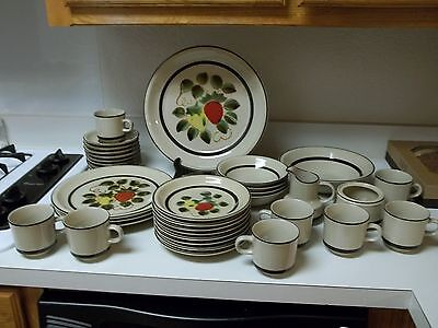 Harmony House Sears ~ Strawberries Stoneware 35 Piece Set Plates