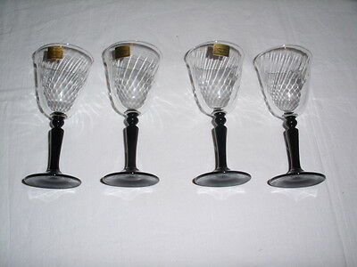 4 Vintage Luminarc Wine Glasses Swirled Glass with Black Stems France