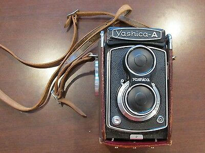 Vintage Yashica-A Camera with Leather Case Lens Cover