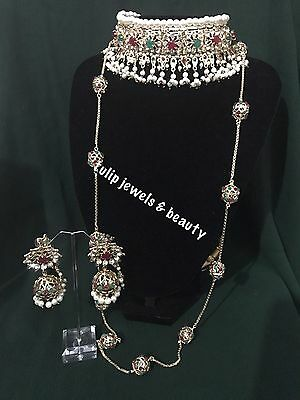 Indian /Pakistani Jewellery Choker Necklace, Malla Jhumkka  Earrings Gold Plated