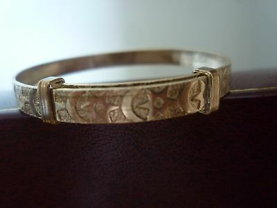 "VTG 9ct MOON & STARS ROLLED GOLD JS CHILD'S Baby""s BANGLE BRACELET ADJUSTABLE"